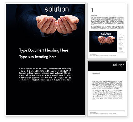 Consulting: Businessman Holding Solution Word Template #14123