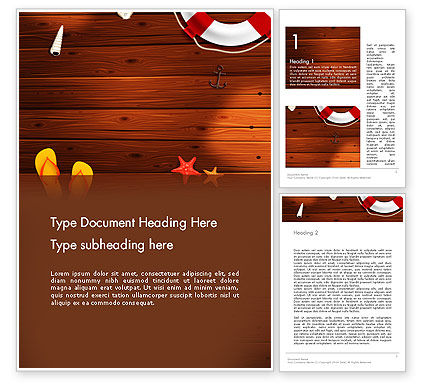Beach Vacation Word Template, 14128, Holiday/Special Occasion — PoweredTemplate.com