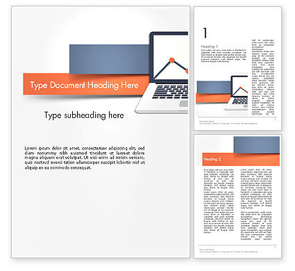 Business: Notebook with Chart Word Template #14131