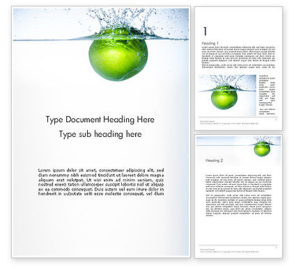 Food & Beverage: Green Apple Falling Into Water Word Template #14136