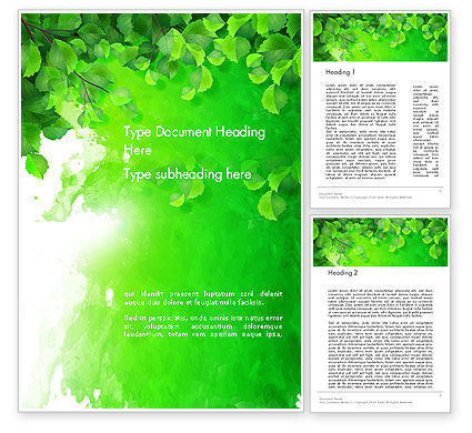 Watercolor Spot with Green Leaves Word Template