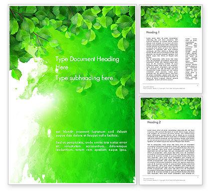 Art & Entertainment: 워드 템플릿 - 녹색 잎 수채화 물방울 #14140