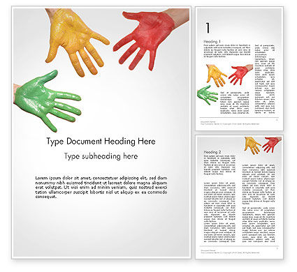Painted Hands Word Template, 14149, Art & Entertainment — PoweredTemplate.com