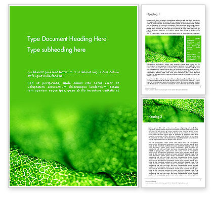 Nature & Environment: Green Leaf Texture Word Template #14155