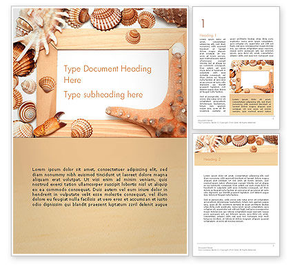 Careers/Industry: Sea Shells and Blank Frame Word Template #14159