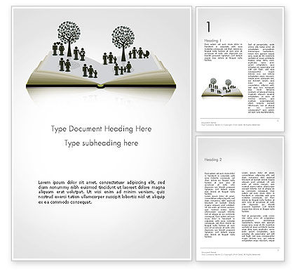 Education & Training: Clipart of Tree and People on Opened Book Word Template #14173