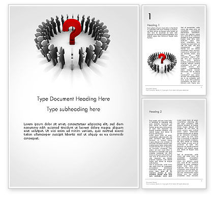 People Standing In Circle with Question Mark in Middle Word Template, 14184, Business Concepts — PoweredTemplate.com