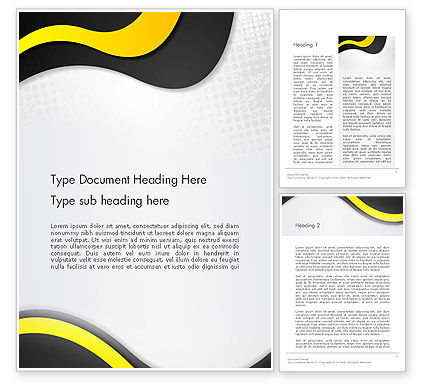 Abstract/Textures: Yellow and Black Waves on Gray Background Word Template #14192