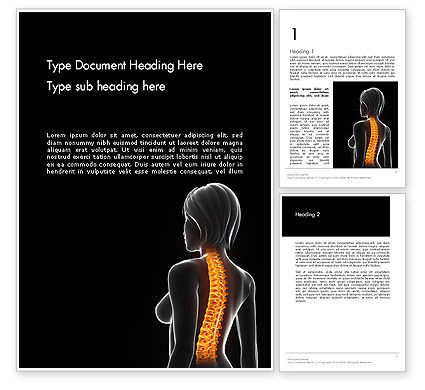 Medical: Female Spine Anatomy Word Template #14201