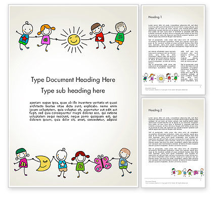 Education & Training: Childish Drawings Word Template #14203