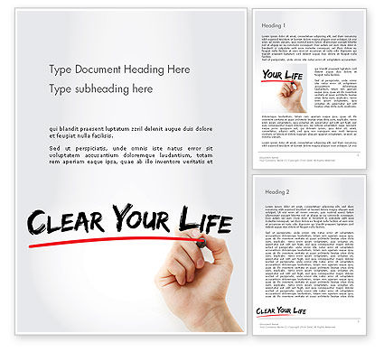Hand Writing Clear Your Life with Marker Word Template, 14211, Business Concepts — PoweredTemplate.com