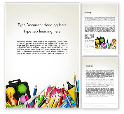 School Background with School Supplies Word Template, 14213, Education & Training — PoweredTemplate.com