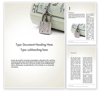 Financial/Accounting: Dollar Banknotes Secured with Lock Word Template #14215