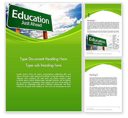 Education Just Ahead Green Road Sign Word Template