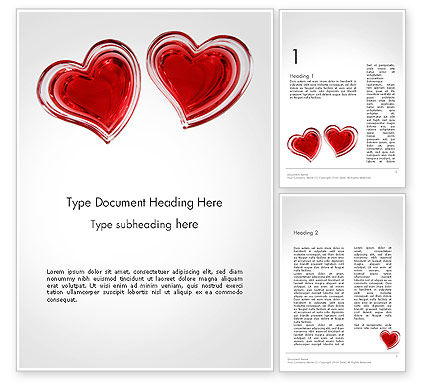 Two Hears Word Template, 14223, Holiday/Special Occasion — PoweredTemplate.com