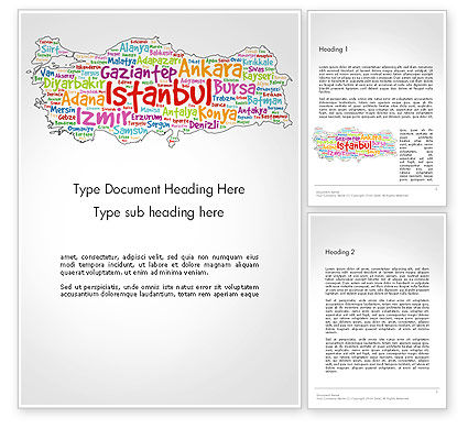Flags/International: Turkish Cities Word Cloud Word Template #14228