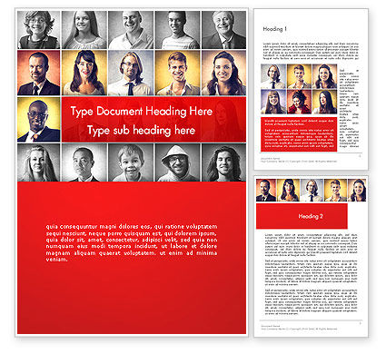 Happy and Smiling Diverse People Word Template, 14230, People — PoweredTemplate.com