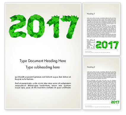 Nature & Environment: Year 2017 Made from Green Leaves Word Template #14241