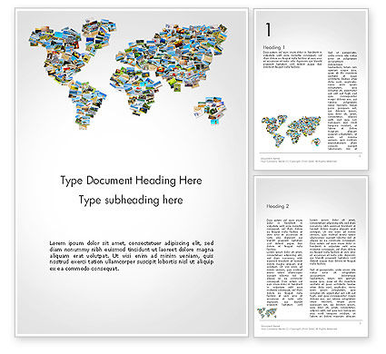 Photos Placed as World Map Shape Word Template