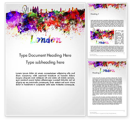 Art & Entertainment: Skyline Van Londen In Aquarel Splatters Word Template #14251