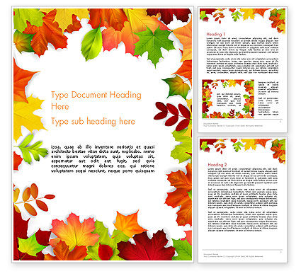 Fall Leaves Border Frame Word Template, 14255, Nature & Environment — PoweredTemplate.com