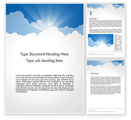 Nature & Environment: Blue Sky Word Template #14262