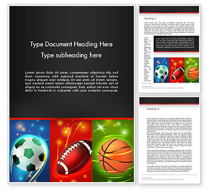 Sports: Soccer Rugby and Basketball Balls Word Template #14264