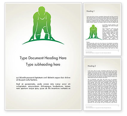 Man Athlete Silhouette in Starting Position Word Template, 14269, 3D — PoweredTemplate.com
