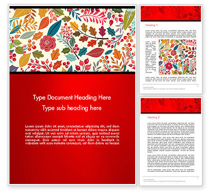 Colorful Leaf and Berry Pattern Word Template, 14270, Nature & Environment — PoweredTemplate.com