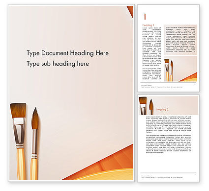 Wide and Thin Paintbrushes Word Template