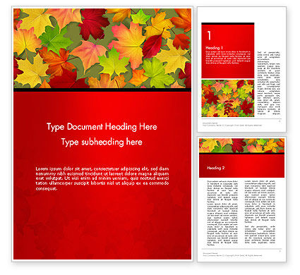 Red and Yellow Autumn Leaves Word Templae, 14287, Holiday/Special Occasion — PoweredTemplate.com
