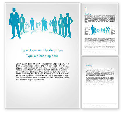 Silhouettes of Men in Suits and Ties Word Template, 14310, People — PoweredTemplate.com