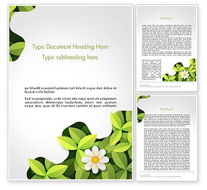 Nature & Environment: Green Gear Shape with Flower Word Template #14312