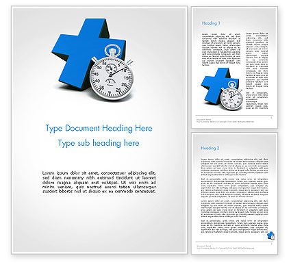 Medical: Blue Cross and Chronometer Word Template #14327