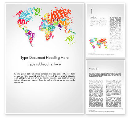 Holiday/Special Occasion: 2017 World Map Word Template #14329