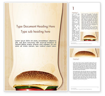 Cheeseburger Word Template, 14331, Food & Beverage — PoweredTemplate.com