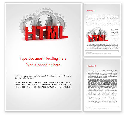 HTML and Gears Word Template, 14333, 3D — PoweredTemplate.com