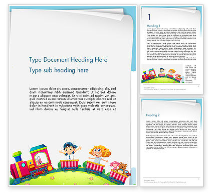 Children on the Train Illustration Word Template