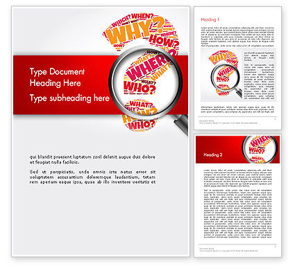 Education & Training: Question Mark with Magnifying Glass Word Template #14343