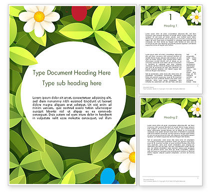 Green Leaf with Flowers and Butterflies Word Template