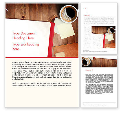 Open Notebook with Cup of Coffee on Wooden Desk Word Template, 14352, Business Concepts — PoweredTemplate.com