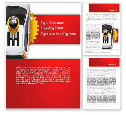 Car and Gearstick Word Template, 14357, Cars/Transportation — PoweredTemplate.com