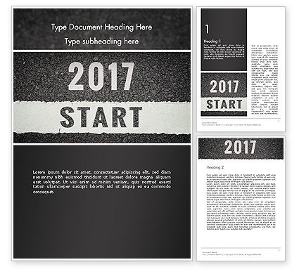 Message Start 2017 on Asphalt Road Word Template, 14367, Business Concepts — PoweredTemplate.com
