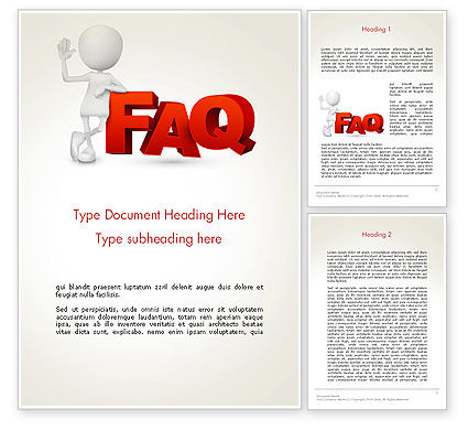 3D Small Person Standing Next to FAQ Word Template, 14371, 3D — PoweredTemplate.com