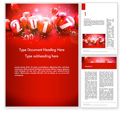 Holiday/Special Occasion: 2017 Greeting Card with Red Balloons Word Template #14374