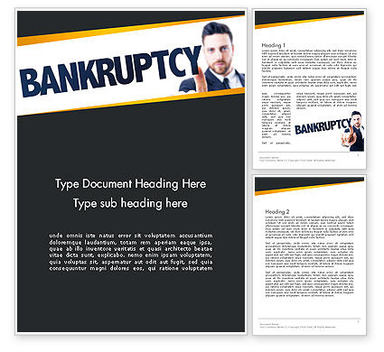 Businessman Pointing the Text Bankruptcy Word Template, 14405, Financial/Accounting — PoweredTemplate.com
