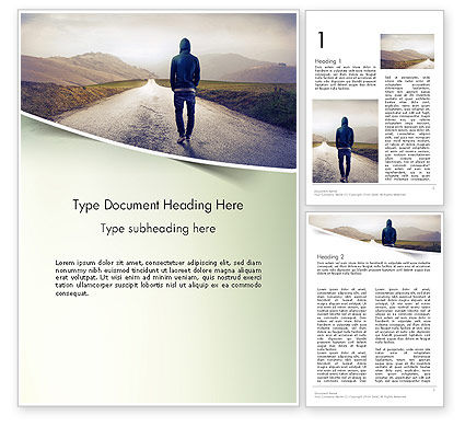 Teenager Walking Away Alone on The Road Word Template, 14407, People — PoweredTemplate.com