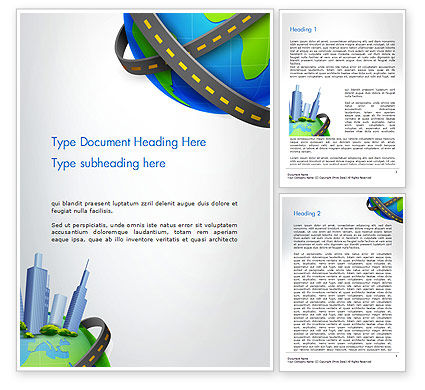 Construction: Road Around Globe with Skyscrapers Word Template #14409
