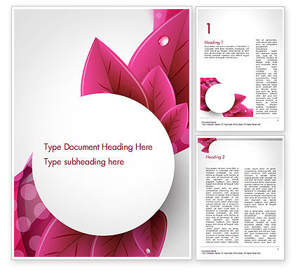 Leaves and Pink Wave Abstract Word Template, 14410, Holiday/Special Occasion — PoweredTemplate.com
