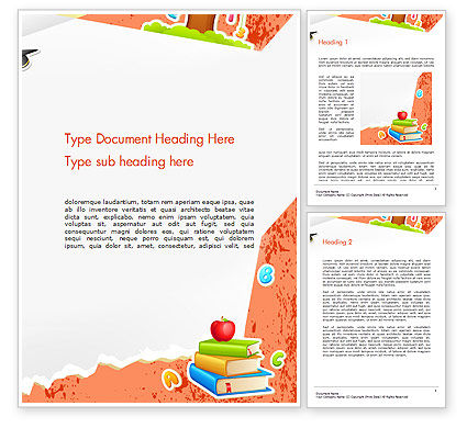 School Theme Background Word Template, 14424, Education & Training — PoweredTemplate.com